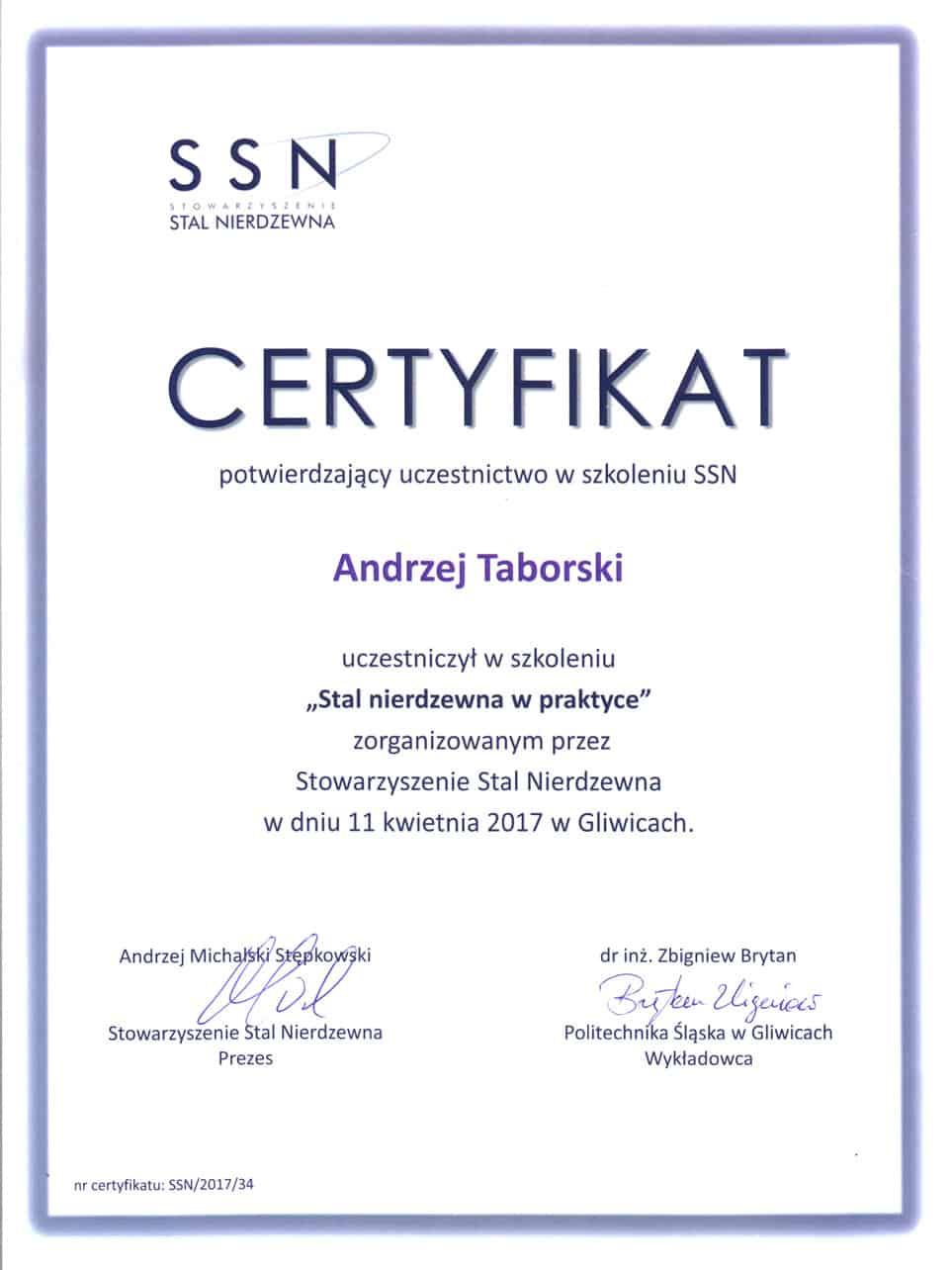 ssn certyfikat stal nierdzewna